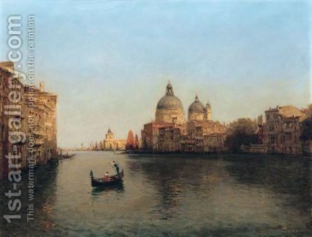 Venise, Un Canal Pres De La Santa Maria Della Salute by Antione Bouvard - Reproduction Oil Painting