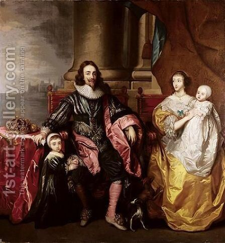 Charles I And Henrietta Maria With Their Two Eldest Children, Prince Charles And Princess Mary by (after) Dyck, Sir Anthony van - Reproduction Oil Painting