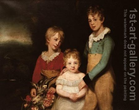 Portrait Of The Langton Children - Skinner Zachary (1797-1885), Richard (1800-1834) And George (1806-1844) by (after) Arthur William Devis - Reproduction Oil Painting