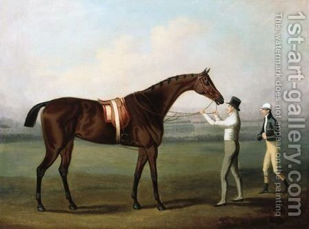 A Bay Racehorse, With Jockey And Owner On Chester Racecourse by Daniel Clowes - Reproduction Oil Painting