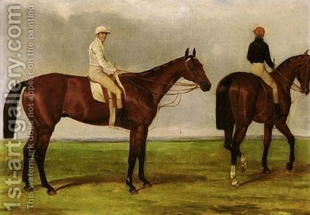 Bay Racehorses Belonging To Colonel Anson And Fulwar Craven by Harry Hall - Reproduction Oil Painting