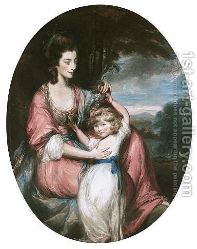 Portrait Of A Lady And Child by Daniel Gardner - Reproduction Oil Painting