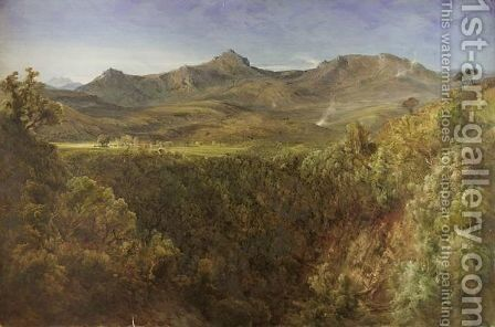 View Of A Homestead Amongst The Mountains by Bernard Walter Evans - Reproduction Oil Painting