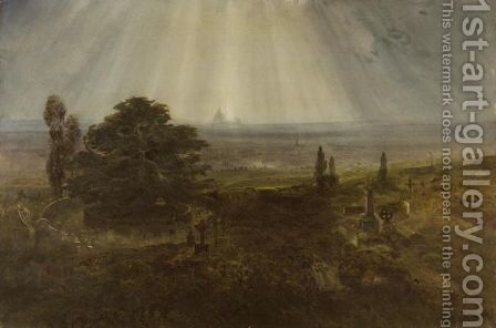 View Of London From Highgate Cemetery With St.Paul's Beyond by Bernard Walter Evans - Reproduction Oil Painting