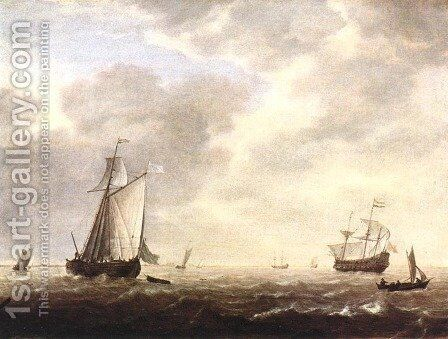 A Dutch Man-of-war and Various Vessels in a Breeze c. 1642 by Simon De Vlieger - Reproduction Oil Painting