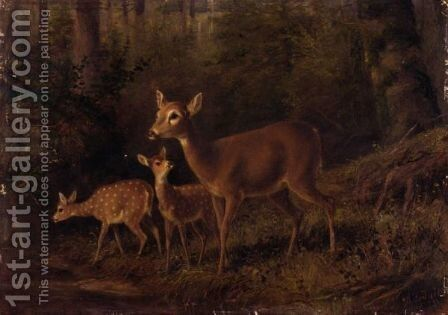 Doe And Two Fawns By A Stream by Arthur Fitzwilliam Tait - Reproduction Oil Painting