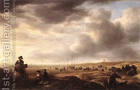 Beach near Scheveningen with Fish-Sellers c. 1643 by Simon De Vlieger - Reproduction Oil Painting