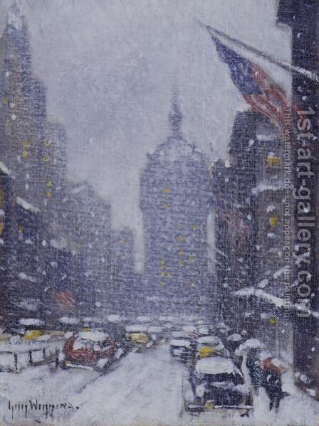 A Snowy Day In Washington Square by Guy Carleton Wiggins - Reproduction Oil Painting