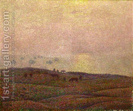 Vaches Dans Un Paysage by Theo van Rysselberghe - Reproduction Oil Painting