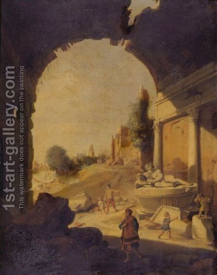 Figures Among Ruins By The Tiber by Bartholomeus Breenbergh - Reproduction Oil Painting