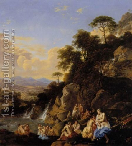 Diana And Her Nymphs Bathing In A Mountainous Landscape by Dirck van der B Lisse - Reproduction Oil Painting