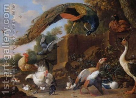 A Peacock Standing On A Plinth With Ducks, A Pheasant, A Cockerel, A Hen And Chicks In A Landscape by (after) Melchior De Hondecoeter - Reproduction Oil Painting