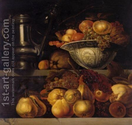 Still Life Of Fruit Resting On A Ledge, With A Wan-Li Porcelain Bowl Filled With Fruit And A Pewter Jug Resting On A Ledge Above by Jan Davidsz. De Heem - Reproduction Oil Painting