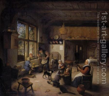 Peasant Family In An Interior by Adriaen Jansz. Van Ostade - Reproduction Oil Painting
