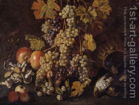 Still Life Of Grapes, Pomegranates, Mushrooms, A Basket And Game In A Landscape by Giovanni Battista Ruoppolo - Reproduction Oil Painting