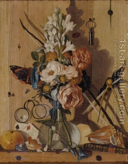 Trompe L'Oeil Still Life Of A Vase Of Flowers, Shells And A Book, With Eyeglasses, A Key And Other Objects Tacked To A Wooden Wall by Antonio Gianlisi The Younger - Reproduction Oil Painting