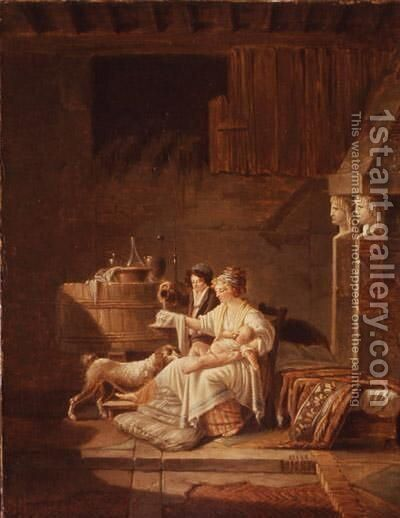 A Young Woman Taking Care Of Her Child by Jean-Baptiste Mallet - Reproduction Oil Painting