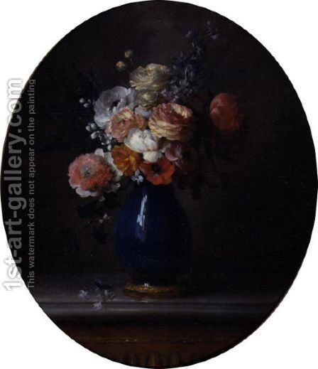 Still Life Of Flowers In A Blue Porcelain Vase by Anne Vallayer-Coster - Reproduction Oil Painting