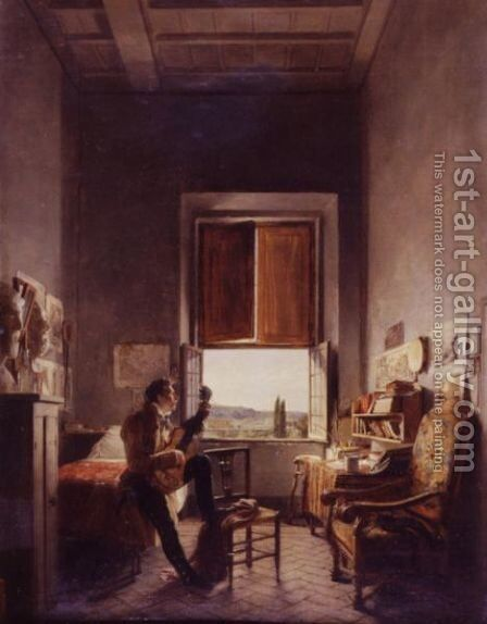 Louis-Vincent-Leon Palliere In His Studio At The Villa Medici, Rome by Jean Alaux - Reproduction Oil Painting