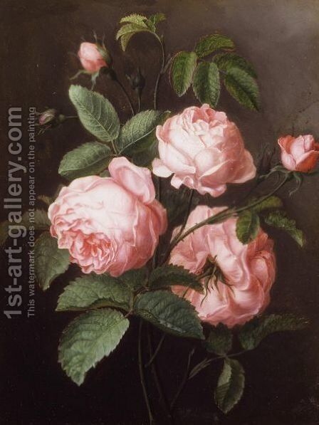 A Sprig Of Roses by Ange Louis Lesourd-Beauregard - Reproduction Oil Painting
