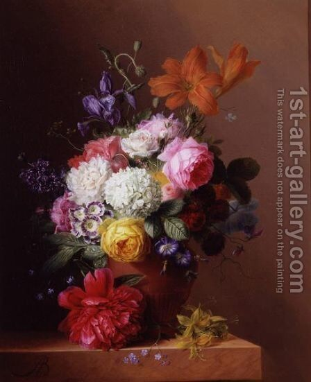 Still Life Of Flowers In A Terracotta Urn Resting On A Marble Ledge by Arnoldus Bloemers - Reproduction Oil Painting