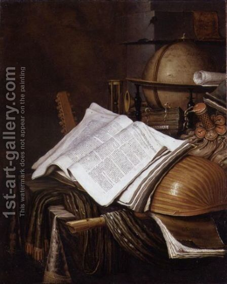 A Vanitas Still Life With A Globe, An Hourglass, A Pouch, Books, Sheet Music,a Lute And Other Musical Instruments On A Draped Table by Edwart Collier - Reproduction Oil Painting