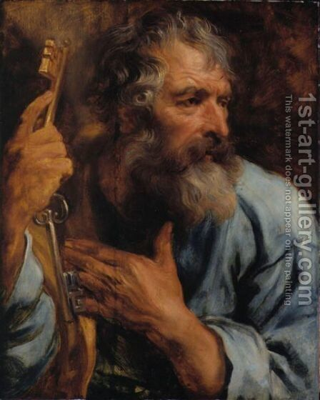 Bust Of The Apostle Peter by Sir Anthony Van Dyck - Reproduction Oil Painting