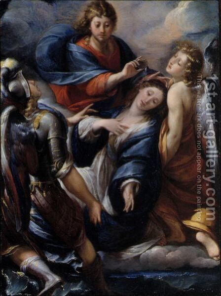 Mary Magdalene Supported By The Archangels Michael And Raphael, Christ Blessing Her Above by Giulio Cesare Procaccini - Reproduction Oil Painting