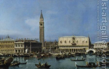 View Of The Molo From The Bacino Di San Marco by (after) Bernardo Bellotto (Canaletto) - Reproduction Oil Painting