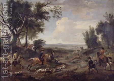 An Extensive Landscape With A Stag Hunt by Jan Wyck - Reproduction Oil Painting
