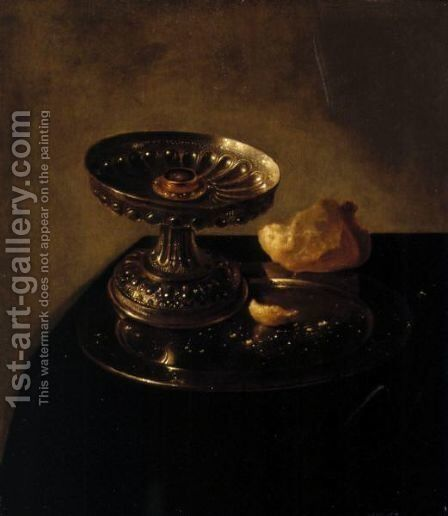 A Tazza And Bread Roll On A Pewter Plate Resting On A Draped Ledge by Jan Jansz. den Uyl - Reproduction Oil Painting