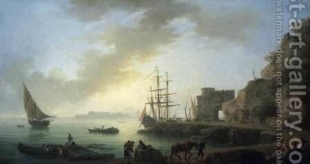 Mediterranean Port at Dawn c. 1750 by Claude-joseph Vernet - Reproduction Oil Painting