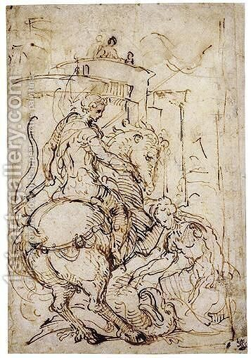 St. George And The Princess by Giulio Campi - Reproduction Oil Painting