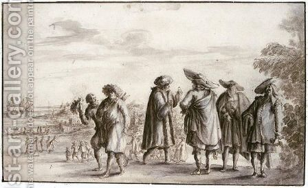 A Group Of Merchants, With A Coastal Landscape Behind by (after) Lucas De Wael - Reproduction Oil Painting