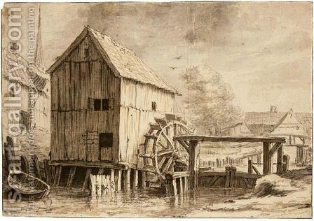 A Watermill And Sluicegate, With A Village Behind by (after) Cornelis Saftleven - Reproduction Oil Painting