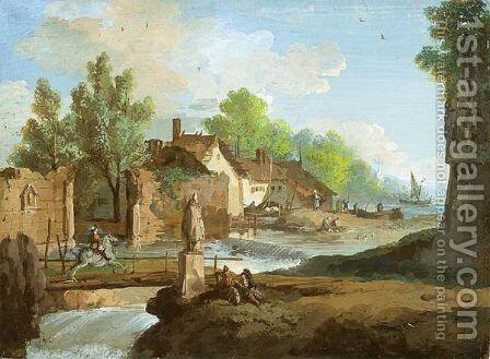 A River With Small Waterfalls Winding Through A Village Past A Ruined Wall by Giuseppe Bernardino Bison - Reproduction Oil Painting