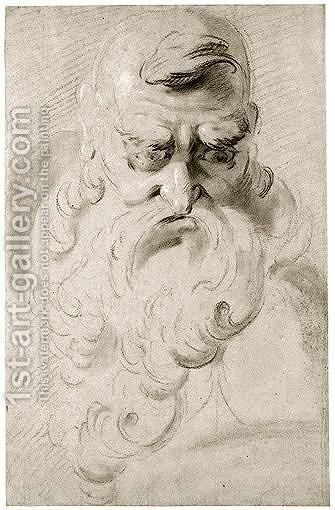 A Grotesque Head Of A Man With A Long Beard by Giuseppe Bernardino Bison - Reproduction Oil Painting