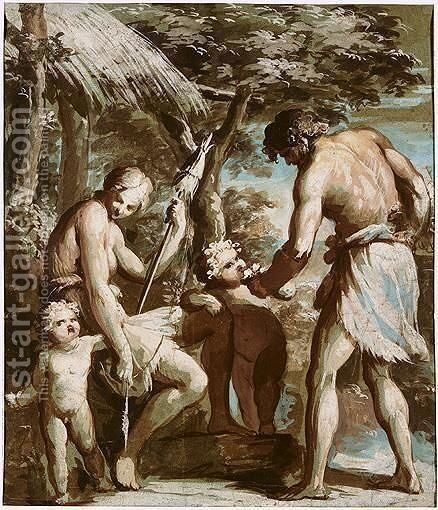 Adam And Eve With Cain And Abel by Giovanni David - Reproduction Oil Painting
