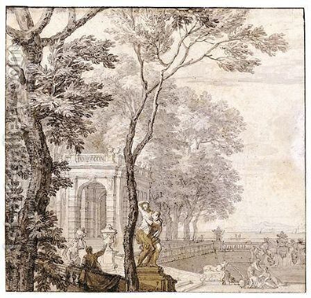 A Pair Of Classical Landscapes With A Fountain In The Foreground, And A View Towards A Lake And Mountains In The Distance by Isaac de Moucheron - Reproduction Oil Painting