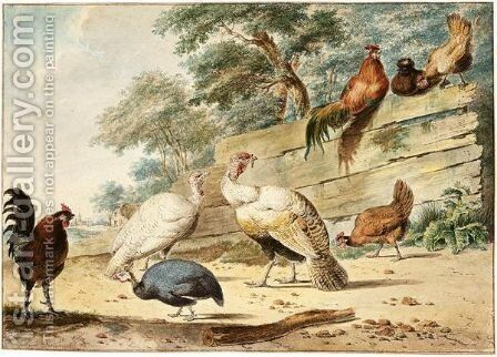 Turkeys, Chickens And A Guinea Fowl By A Wooden Fence by Christian Henning - Reproduction Oil Painting