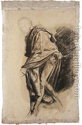 Study Of A Figure In A Cloak, Leaning Forward by Jean-Louis-Ernest Meissonier - Reproduction Oil Painting