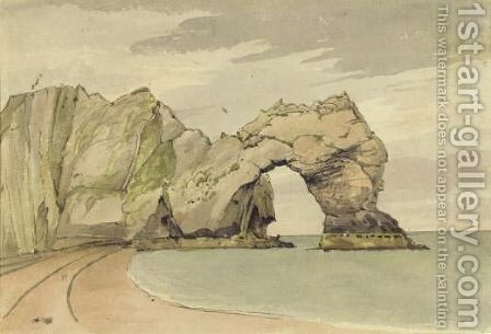 Durdle Door The Great Nature Rock Arch Near Lulworth by (after) George Cumberland - Reproduction Oil Painting