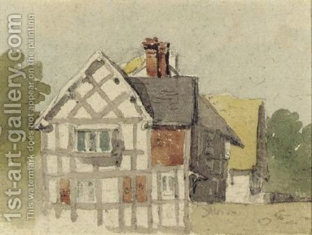 A Half-Timbered Cottage by David Cox - Reproduction Oil Painting