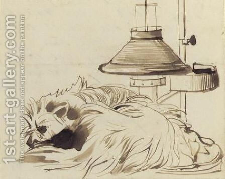 A Dog Asleep Beside A Reading Lamp by Daniel Maclise - Reproduction Oil Painting