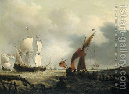 A Dutch Warship And Fishing Boats In A String Wind Off The Dutch Coast by Dutch School - Reproduction Oil Painting