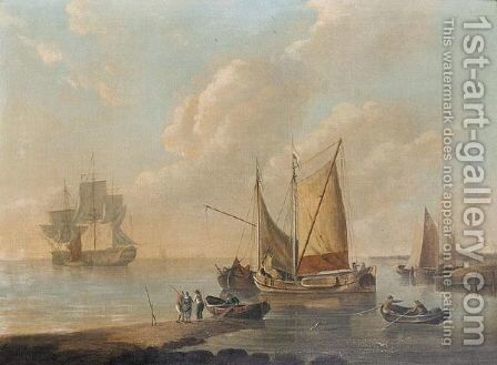 Shipping of a beach by Dutch School - Reproduction Oil Painting