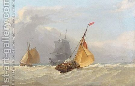 Sailing boats with brig in the background by (after) Miles Edmund Cotman - Reproduction Oil Painting