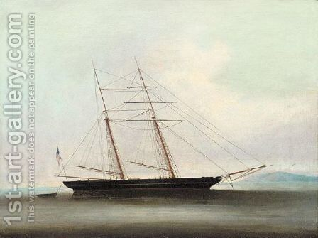 An american ship off the coast of China by Anglo-Chinese School - Reproduction Oil Painting
