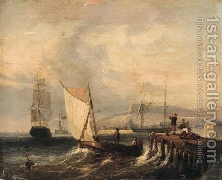 Shipping of a jetty by Dutch School - Reproduction Oil Painting