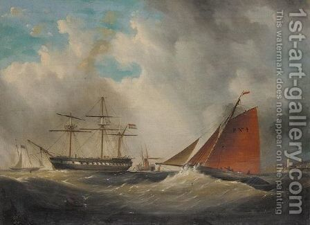 A cutter and man o'War in harbour entrance by (after) Arthur Wellington Fowles - Reproduction Oil Painting
